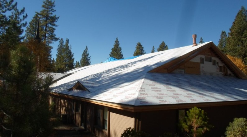East side of building entirely covered with ice and water shield